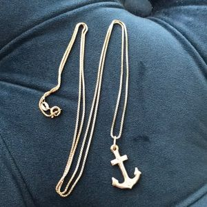 Sterling silver anchor on box chain w/ extra chain